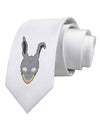 Scary Bunny Face Printed White Necktie