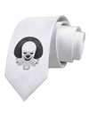 Scary Clown Grayscale Printed White Necktie