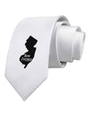 New Jersey - United States Shape Printed White Necktie