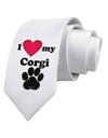 I Heart My Corgi Printed White Necktie