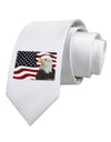 Patriotic USA Flag with Bald Eagle Printed White Necktie