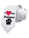 I Heart My Pointer Printed White Necktie