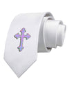 Easter Color Cross Printed White Necktie