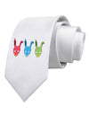 Scary Bunny Tri-color Printed White Necktie