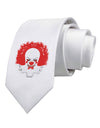 Extra Scary Clown Watercolor Printed White Necktie
