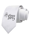 Halloween Current Year Script Text Printed White Necktie