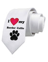 I Heart My Border Collie Printed White Necktie