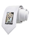 Pomeranian Step Out Printed White Necktie