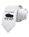 Sleep When Dead Coffin Printed White Necktie