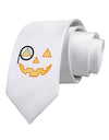 Monocle Jack-o-Lantern Color Printed White Necktie