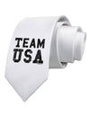 Team USA Distressed Text Printed White Necktie