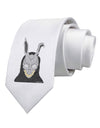 Scary Buny Face Watercolor Printed White Necktie