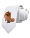 Pomeranian Sitting All Cute-Like Printed White Necktie