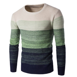 Fashion Round Collar Mens Stripe Sweater