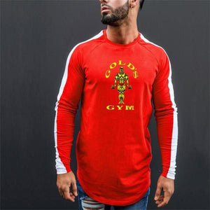 Fashion Youth Sport Slim Print Long Sleeve Men Top