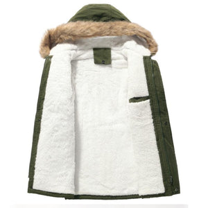 Mens Fleece Lined Patched Detail Hooded Coat