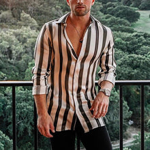 Load image into Gallery viewer, Fashion Men's Lapel Long Sleeve Striped Print Shirt