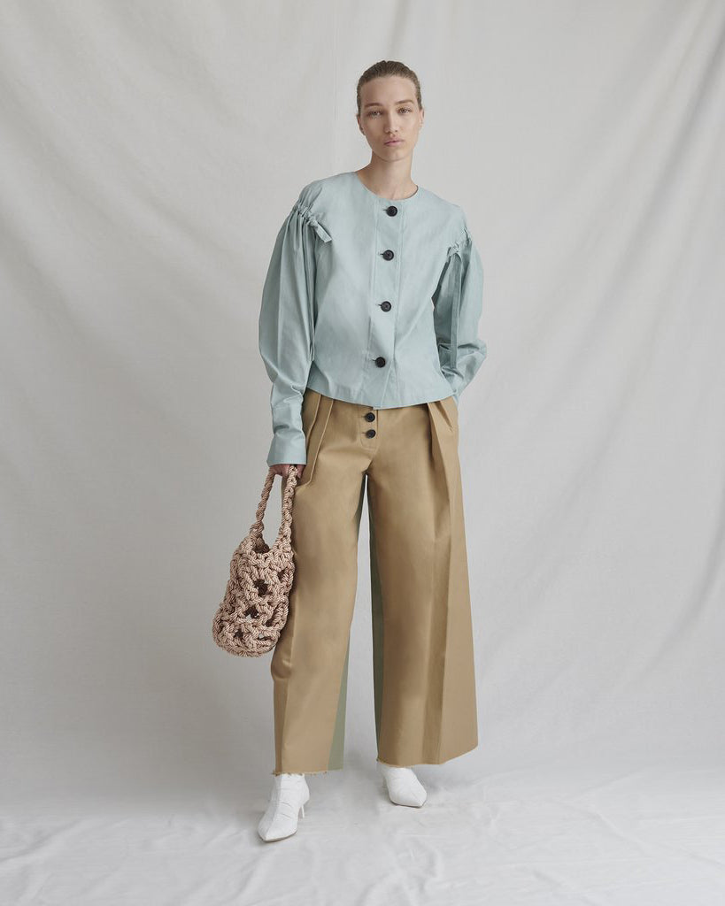 Brodie Trousers Cotton Beige and Sage