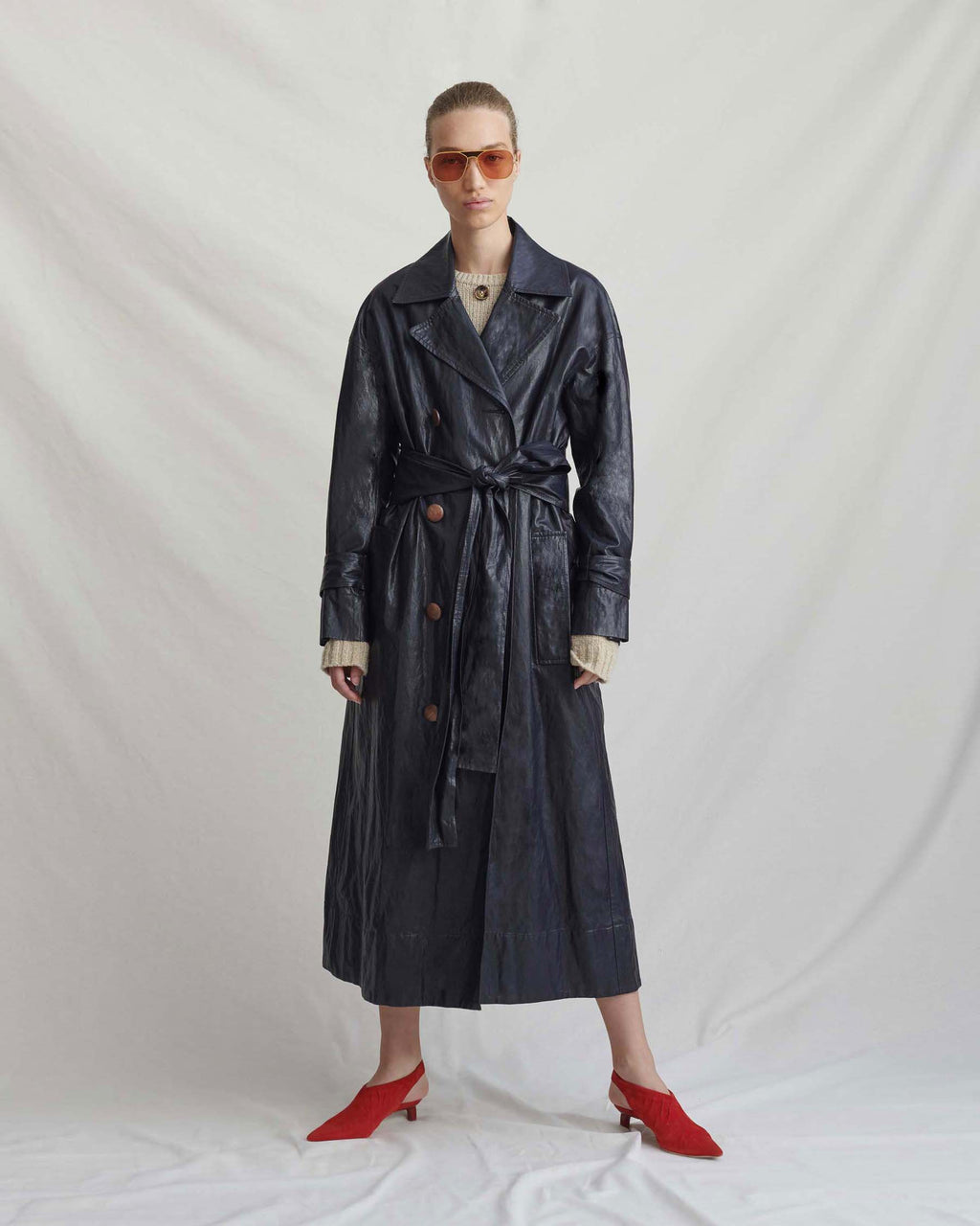 Oli Trench Faux Leather Navy