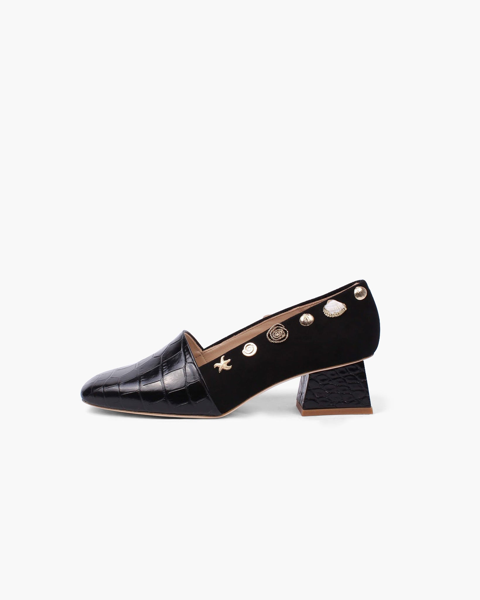 Cecilia Heels Leather Emboss and Suede Black
