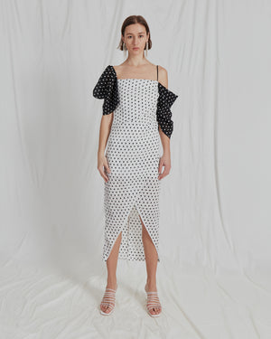 Layla Dress Seersucker Polka Dot Black and White