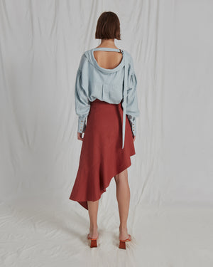 Alicia Shirt Linen Sea Blue