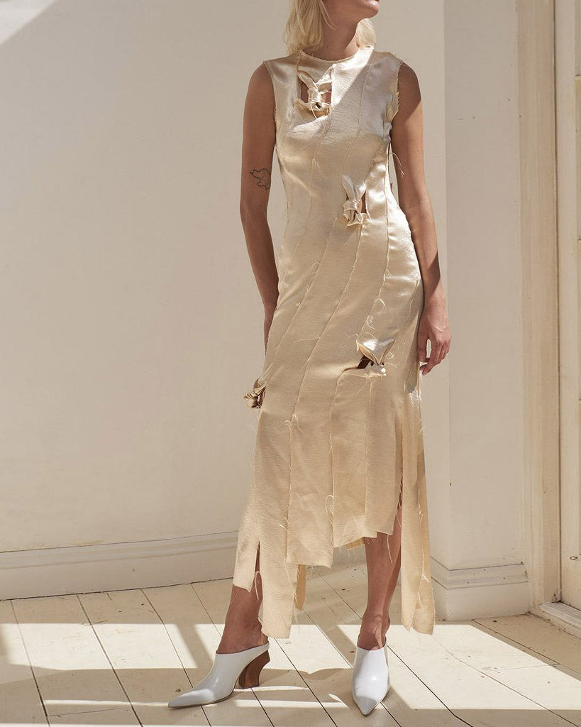 Laura Strip Knotted Dress Crepe Satin Champagne