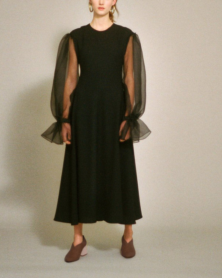 Harriet Dress Black Crepe and Organza