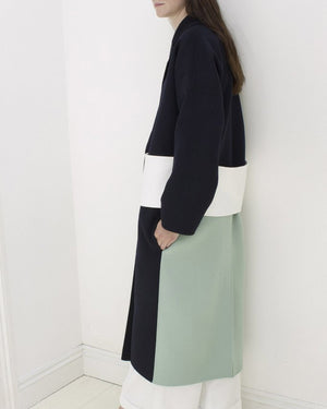 Kate Oversized Coat Navy with Mint Panel and White Belt