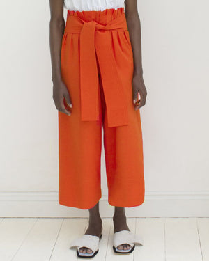 Ivy Belted Trousers Cotton Red