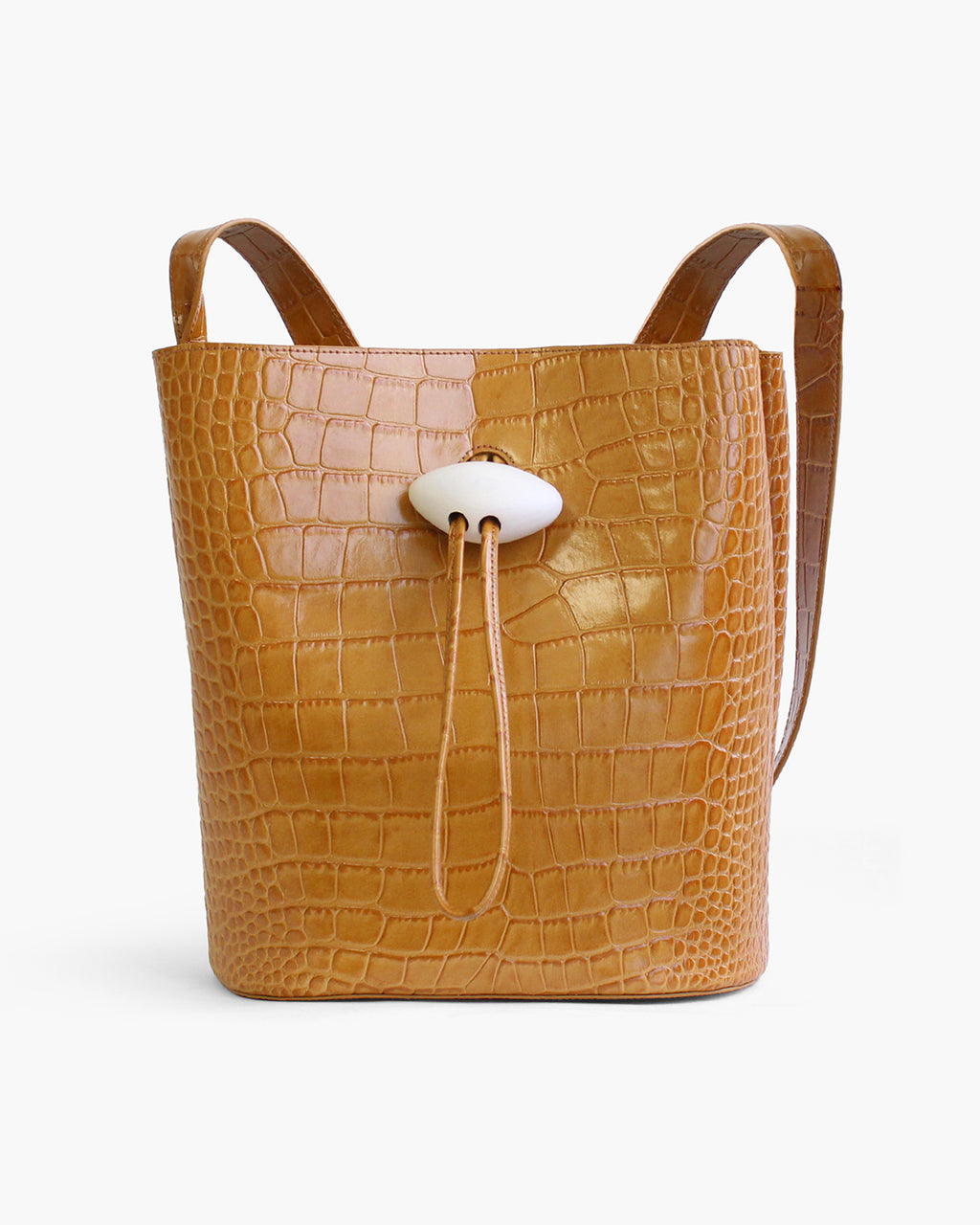 Naomi Bag with White Wood Closure Leather Croc Mustard