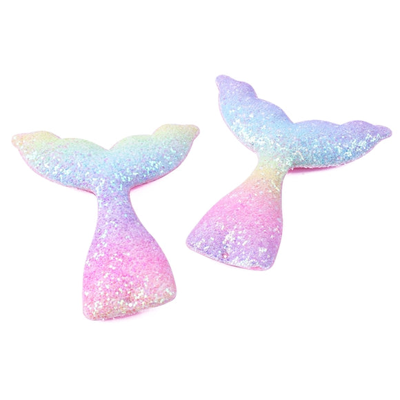 Faux Leather Shapes - Pastel Rainbow Mermaid Tail (large)