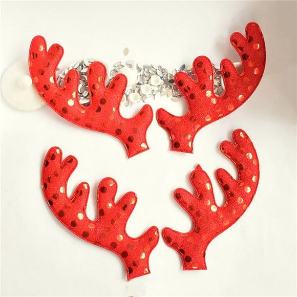 Faux Leather Shapes - Antlers in Red
