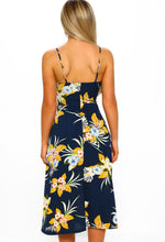 Floral Print Midi Dress - Back View