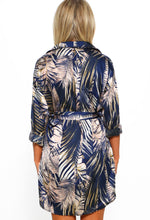 Navy Printed Shirt Dress - Back View