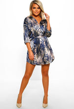 Tropical Print Navy Shirt Dress - Full Length View
