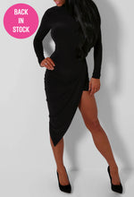 Ardis Black Slinky Asymmetric Drape Dress