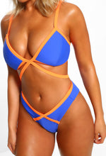 Blue Strappy Contrast Bikini - Close up view