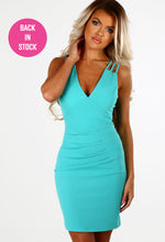 Dance Until Dawn Turquoise Multi Strap Bodycon Mini Dress