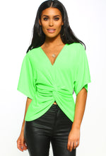 Neon Green Twist Front Batwing Top