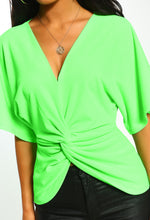 Neon Green Twist Front Batwing Top - Close Up View