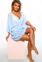 Pool Party Princess Baby Blue Ruffle Wrap Front Cover Up