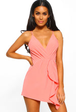 Slay Something Pink Frill Detail Sleeveless Wrap Playsuit