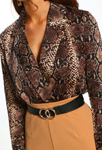 Animal Print Long Sleeve Wrap Bodysuit - Close Up View