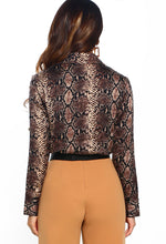 Animal Print Long Sleeve Wrap Bodysuit - Back View