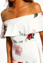 White Floral Frill Detail Dress