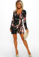 Black Floral Print Frill Wrap Dress