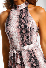 Pink Snake Print Split Front Midi Dress - Close up