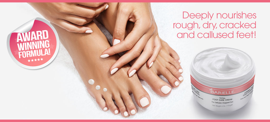 Barielle's  award winning Total Foot Care Cream puts the bounce back in your step. Total Foot Care Cream will soothe, protect and aid the driest, most chapped, callused feet.