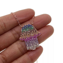 Load image into Gallery viewer, Multicolor HAMSA Necklace